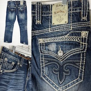 Men's Rock Revival Ethan Straight Distressed 33